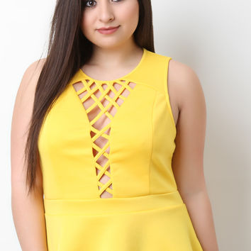 Lattice Front Sleeveless Peplum Top