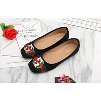 GUCCI 2018 new button flat bottom women's shoes non-slip shallow mouth women's shoes F/A