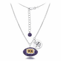Minnesota Vikings Silver and Crystal Necklace Jewelry. NFL Jewelry