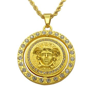 Luxury Gold Classic Rhinestones VERSACE Pendant Necklace Hip Hop Fashion Jewelry Unisex