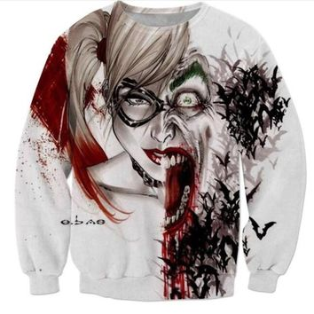 c9f981be5767 New Fashion Womens Mens Harley Quinn Joker Funny 3D Print casual Long  Sleeve Crewneck Sweatshirts
