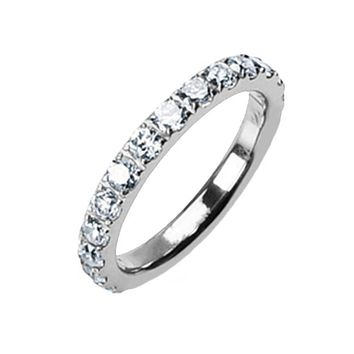 Persuasion - Classic Design Titanium Wedding Ring with Cubic Zirconias