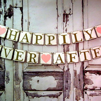 Banner-Garland-Wedding Decor-HAPPILY EVER AFTER-Rustic Barn Wedding Decorations-Engagement Decor-Custom Colors-Photo Prop-Car Sign-Sign
