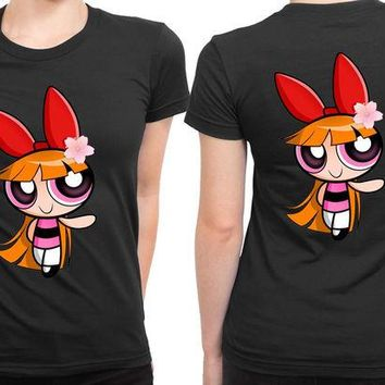 DCCK7H3 The Powerpuff Girls Pink 2 Sided Womens T Shirt
