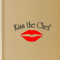 Kiss the Chef Vinyl Wall Art Decal Multi Color Cooking Wall Art Home Decor De...