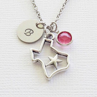 Texas Necklace Texas State Silhouette Star Cowboys Longhorns Jewelry Swarovski Birthstone Silver Initial Personalized Monogram Hand Stamped