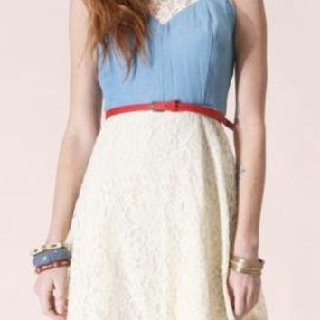 Altruistic Pledge Belted Sleeveless Denim and Lace Dress by Flying Tomato | Sincerely Sweet Boutique