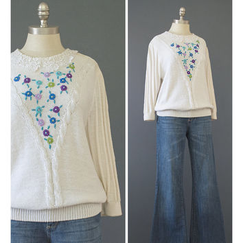 80s Sweater - 1980s Floral Embroidered Sweater - Pearl Beaded Sweater - Embellished Sweater - Andrea Gayle Puff Sleeve Cream Cotton Sweater