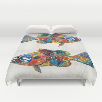 Colorful Grouper Art Fish by Sharon Cummings Duvet Cover by Sharon Cummings