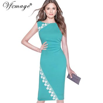 Vfemage Women Elegant Sleeveless Ruched Floral Lace Applique Slim Fitted Wear to Work Office Business Bodycon Pencil Dress 6858