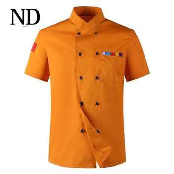 Food Services Short Sleeve Chef Jacket Coat Men Women Overalls Hotel Kitchen Chef Uniform Cooking Clothes