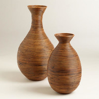 Honey Bulb Rattan Coil Vases