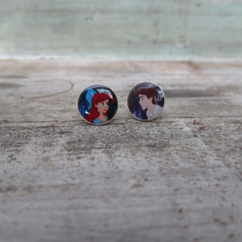 The Little Mermaid Kiss The Girl Sterling Silver Post Earrings 10mm