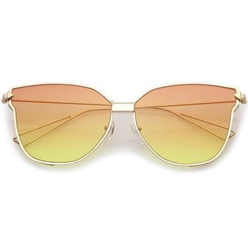 Oversize Wire Frame Gradient Flat Lens Sunglasses A930