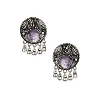 Engraved Disc Studs - Purple