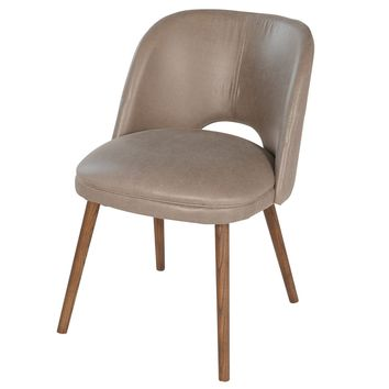 French Barrel Back Grey Leather Dining Chair
