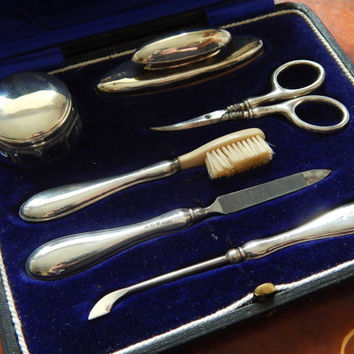 Sale Complete Cased Antique Sterling Silver Manicure Vanity Set in Original Box by William Vale and Sons of Birmingham - Hallmarked - Satin