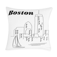 Passport Postcard Boston Square Throw Pillow