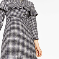 FRILLED TWEED DRESS