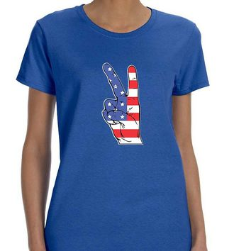 Women's T Shirt American Flag Hand 4th Of July Graphic Tee