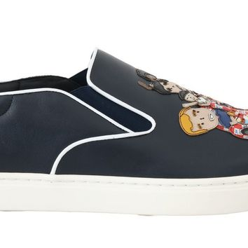 Blue Leather Family Embroidered Loafers