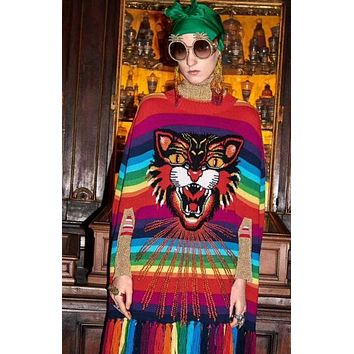 GUCCI Trending Women Stylish Tiger Head Jacquard Diamond Rainbow Stripe Sleeveless Round Collar Knit Sweater Top Tassel Shawl