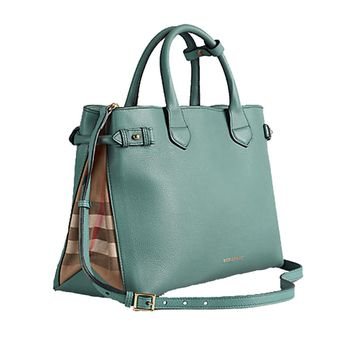 Tote Bag Handbag Authentic Burberry Medium Banner in Leather and House Check Smokeygreen Item 39826291