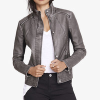 Two Tone (minus The) Leather High Neck Moto Jacket from EXPRESS