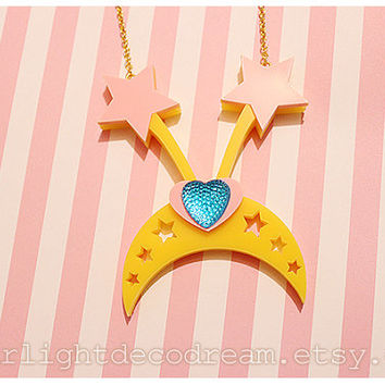Magical Angel Creamy Mami Tiara Acrylic Necklace for Mahou Kei, Magical Girl Fashion