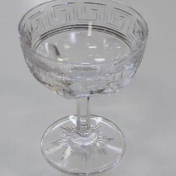 American Brilliant Period Cut Glass dessert signed Hawkes greek key Antique