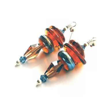 Blue and Browns New with a retro mood: Atomic Mid Century Modern Look Lampwork glass bead Earrings Silver, amber, and metallic silvery Blue