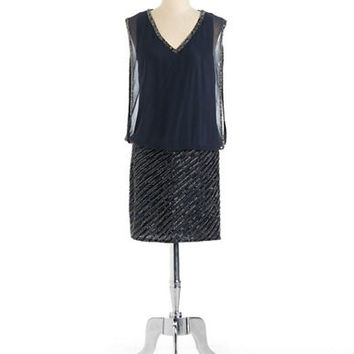 J Kara Beaded V Neck Blouson Dress