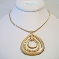 eBlueJay: Textured Pear Shape Pendant Necklace Gold Tone
