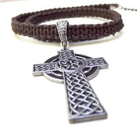 Dark Brown Leather Necklace:  Men's Jewelry, Celtic Cross Handcrafted Macrame Braided Cord Unisex Necklace
