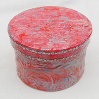Red Trinket Box - Art Trinket Box - Hand Painted Box -  Jewelry Box - OOAK Box - Keepsake Box - Red Silver Box - Small Fancy Box