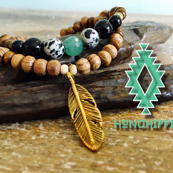 Energizing cuff feather bracelet, native American inspired BoHo hippie jewelry