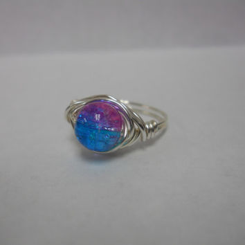 Silver Plated Wire Wrapped Crackled Glass Ring, Custom Ring, Wire Wrapped Ring, Wire Ring, pearl ring