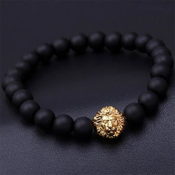 Blue bead bracelet buddha bracelets paracord natural stone lion bracelet for Men