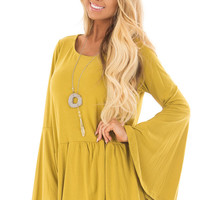 Citronella Yellow Babydoll Top with Bell Sleeves