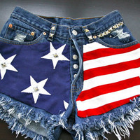 Levis 501 button fly High waist destroyed denim shorts super frayed with US flag and studs size X Small