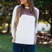 The Way You Like Top, Ivory/Tan