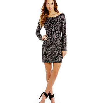 Jump Long Sleeve Glitter Pattern Sheath Dress | Dillards