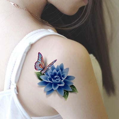 648f02436c606 Realistic stereo 3D tattoo stickers waterproof new female sexy rose butterfly  tattoo stickers cover up the