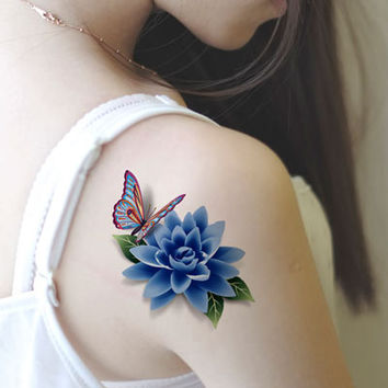 Realistic stereo 3D tattoo stickers waterproof new female sexy rose butterfly tattoo stickers cover up the scars