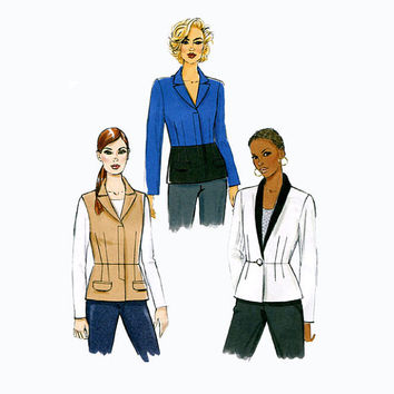 2000s PEPLUM JACKETS, Vest - Loose Fitting, LIned, Shawl Collar Vogue 8931 Size 14-16-18-20-22 Bust 36-38-40-42-44 UNCUT Sewing Patterns