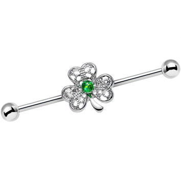 14 Gauge Green Faux Opal Fancy Shamrock Industrial Barbell 38mm