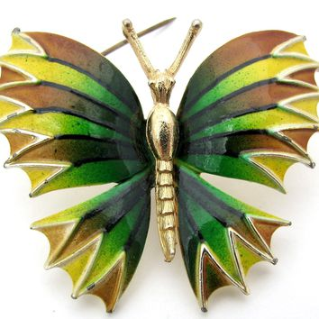 Green Yellow and Brown Butterfly Brooch Pin