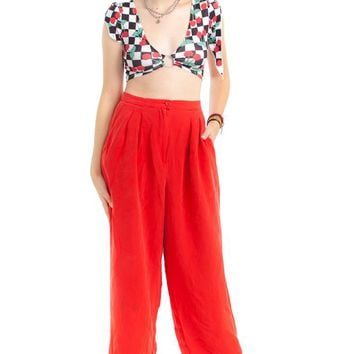Vintage 80's Cropped Silk Trousers - M