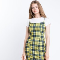 Amber Yellow Plaid Mini Dress