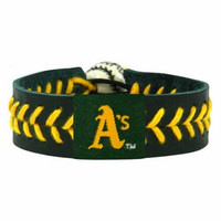 Gamewear MLB Leather Wrist Band - Athletics Team Colors